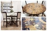 Intarzovaný stůl a židle, vykládané vzácné dřevo