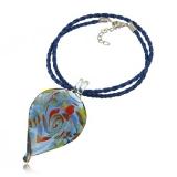 Náhrdelník sklo modrý, přívěšek list barevný zvlněný