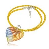 Náhrdelník sklo žlutý, přívěšek žluto-modré skleněné srdce
