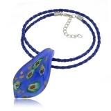 Náhrdelník sklo modrý, přívěšek skleněná slza modrá millefiori