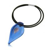 Náhrdelník sklo modrý, přívěšek skleněná špice modrá se zlatem