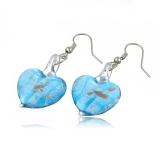 Skleněné náušnice srdce azurově modré s plátky stříbra