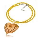 Náhrdelník sklo žlutý, přívěšek žluto-červené skleněné srdce