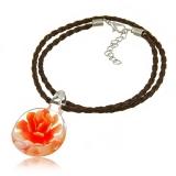 Náhrdelník sklo oranžovo-hnědý, přívěšek medailonek 3D oranžová