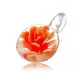 Přívěšek medailonek 3D oranžová květina