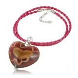 Náhrdelník sklo fialový, přívěšek fialovo-zlaté srdce