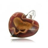 Přívěšek muráno-sklo, hnědo-fialovo-zlaté srdce