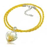 Náhrdelník sklo žlutý, přívěšek průsvitné srdce 3D s kytkou