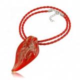 Náhrdelník sklo červený, přívěšek červeno-zlatá špice