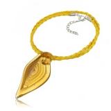 Náhrdelník sklo žlutý, přívěšek žluto-zlatá špice