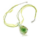 Náhrdelník sklo zelený, přívěšek skleněná kapka se zelenou květi