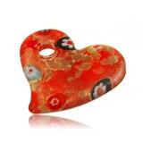 Přívěšek skleněné zlato-červené srdce millefiori