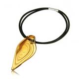 Náhrdelník sklo, přívěšek skleněná špice žlutá se zlatem