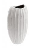 Váza oválná bílá vysoká, s vroubky, v 41 cm.