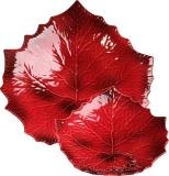 Set-misky 2v1, malovaná vínová, dekor list, Williams-Sonoma