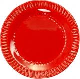 Talíř červený mělký s vroubky, 17 cm
