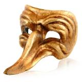 Benátská karnevalová maska-Capitano gold