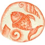 Talíř plochý velký s korálovou rybou, nepravidelný