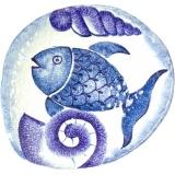Talíř plochý velký s rybou, originál ruční tvorba