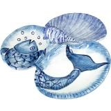 Servírovací tác trojdílný modrý s velkou mušlí, originál ruční p