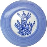 Servírovací tác velký 33 cm, malovaný s modrým korálem