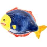 Tác malovaný ve tvaru a dekorem modré mořské ryby
