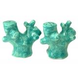 Keramický set tyrkysový korál sůl-pepř, dekorace