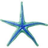 Malovaná keramická dekorace hvězdice zelenomodrá, 14 cm