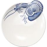 Miska 21 cm s plastickým dekorem plody moře, modrý