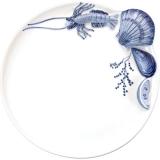 Talíř plochý velký 26 cm, dekor plody moře modrý