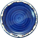 Talíř dezertní modrý 21 cm, lemovaný mušlemi