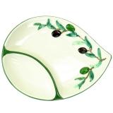 Miska dvojdílná na servírování oliv, malovaná