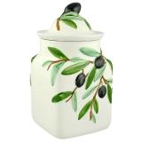 Dóza velká s gumovým víkem, malovaná, dekor olivy
