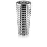 Vysoká hranatá skleněná váza stříbrná s optickým vzorem