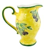 Džbán vysoký 25 cm, malovaný-žlutý s olivami, Toskánsko
