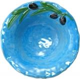 Tyrkysová miska malovaná, ruční práce, kamenina, dekor oliva