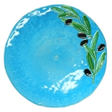Talíř plochý, malovaný tyrkysový s olivovou větvičkou