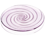 Skleněný masivní  tác fialový s dekorem spirály a stříbra