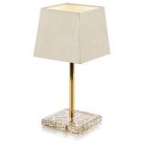 Skleněná lampa se zlatým vzorem v celoskleněném podstavci
