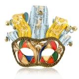 Benátská karnevalová maska-Arlecchino Onde Blue