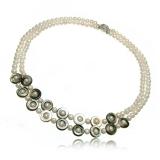 Perlový náhrdelník,  bílé perly 5 mm a perleť