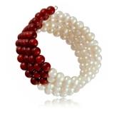 Perlový náramek, perly říční a korál, čtyřřadý