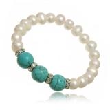 Perlový náramek, perly říční bílé 9 mm, tyrkys s křišťálem