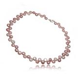 Náhrdelník s perlami, růžové perly button 7 mm