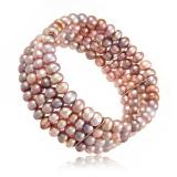 Perlový náramek, perly říční, růžové a fialkové perly 6 mm