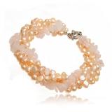 Perlový náramek, perly říční růžové a růženín