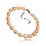 Perlový náramek, růžové říční perly 79 mm