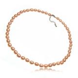 Perlový náhrdelník, růžové perly 7 mm, vázané