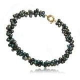Náhrdelník dvojřadý stočený sladkovodní perly tahity 9-10 mm