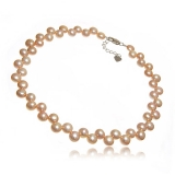 Perlový náhrdelník, perly button 9-10 mm